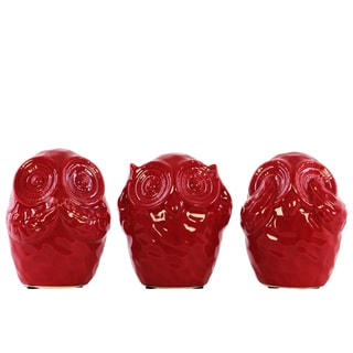Urban Trends Collection Red-finished Ceramic Hear, See, and Speak No Evil Owl Figurines (Pack of 3)