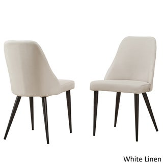 Cecelia Espresso Wingback Dining Chair iNSPIRE Q Modern (Set of 2) (Option: White Linen Side Chair)