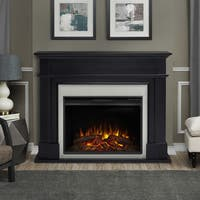 Harlan Black Finish 55.13 in. L x 13.5 in. D x 44.13 in. H Electric Grand Fireplace by Real Flame