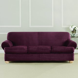 Sure Fit Ultimate Strech Suede 3-Cusion Sofa T-Cushion Slipcover