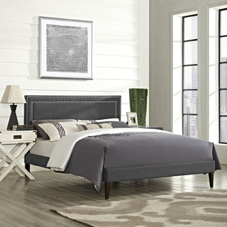 Jessamine Fabric Platform Bed with Squared Tapered Legs in Gray