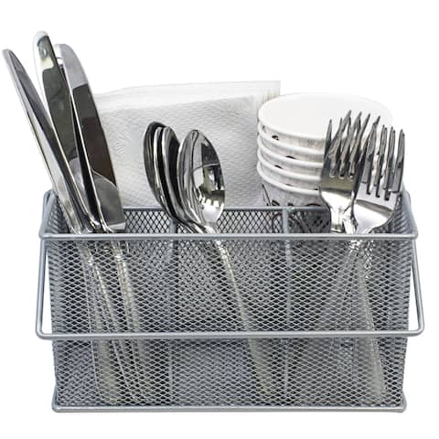 Sorbus Mesh Utensil Caddy, Silverware and Napkin Holder, Silver