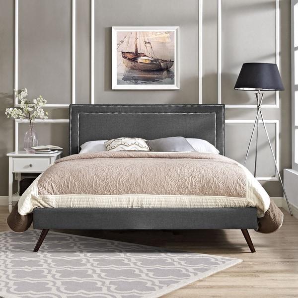 Jessamine Grey Fabric Platform Bed with Round Splayed Legs
