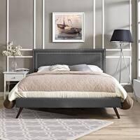 Jessamine Fabric Platform Bed with Round Splayed Legs in Gray