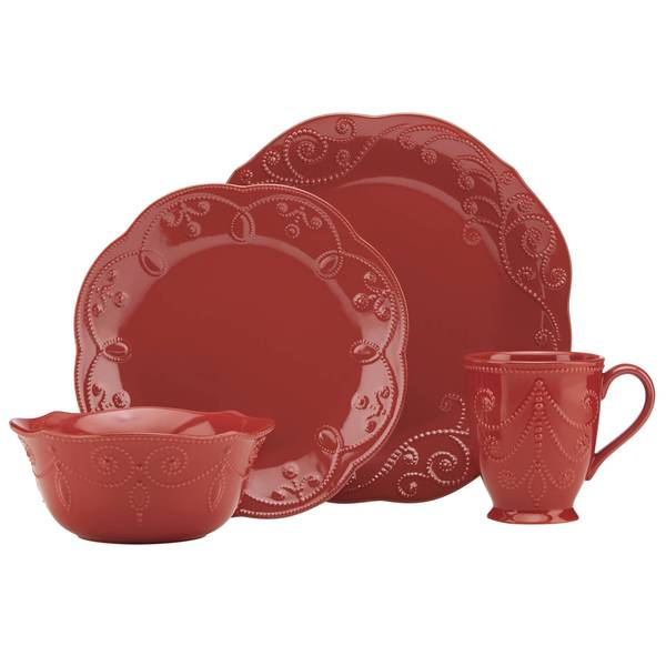 Lenox French Perle Cherry Red Stoneware 4-piece Place Setting  sc 1 st  Overstock.com & Lenox French Perle Cherry Red Stoneware 4-piece Place Setting - Free ...