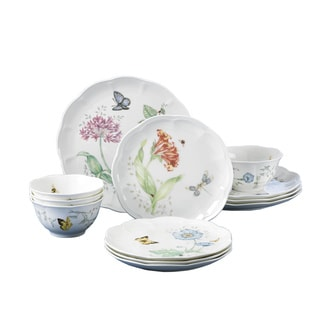 Lenox Butterfly Meadow Porcelain 12-piece Dinnerware Set  sc 1 st  Overstock.com & Porcelain Dinnerware For Less | Overstock.com