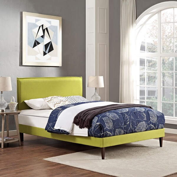 Shop Camille Fabric Platform Bed With Squared Tapered Legs