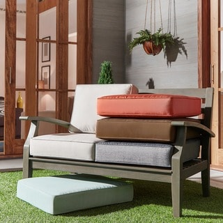 Yasawa Grey Modern Outdoor Cushioned Wood Loveseat by NAPA LIVING