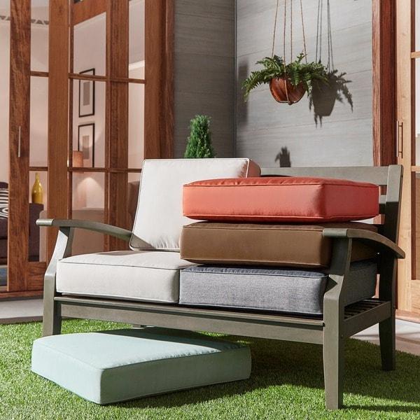 Shop Yasawa Grey Modern Outdoor Cushioned Wood Loveseat ... on Safavieh Outdoor Living Granton 5 Pc Living Set id=68394