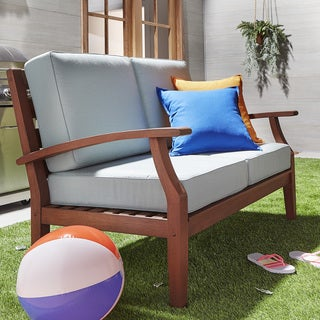 Yasawa Brown Modern Outdoor Cushioned Wood Loveseat iNSPIRE Q Oasis