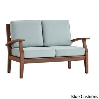 Yasawa Brown Modern Outdoor Cushioned Wood Loveseat iNSPIRE Q Oasis
