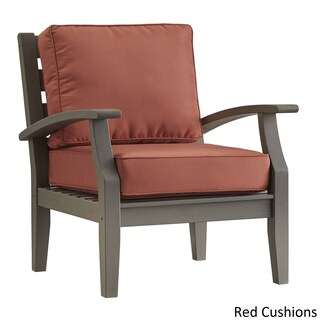 Yasawa Grey Modern Outdoor Cushioned Wood Chair iNSPIRE Q Oasis (Option: RED cushion)