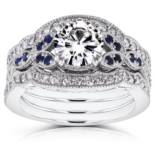 Annello by Kobelli 14k White Gold 1ct Moissanite Blue Sapphire and 1/2ct TDW Diamond Vintage Floral 3-Piece Bri