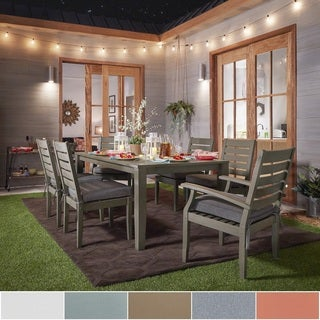 Yasawa Modern Grey Wood Outdoor Rectangle 7 Piece Dining Set INSPIRE Q Oasis
