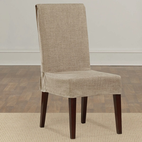 Dining Room Chair Back Covers: Shop Sure Fit Textured Linen Shorty Dining Room Chair
