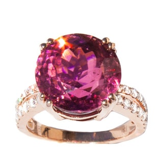 California Girl Jewelry 18k Rose Gold 5/8ct TDW Diamond, Pink Tourmaline Cocktail Ring (G, VS1)