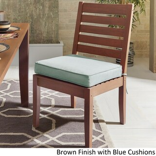 Yasawa Modern Wood Outdoor Cushioned Dining Side Chair (Set of 2) iNSPIRE Q Oasis (Option: [Brown Finish] - with BLUE cushion)