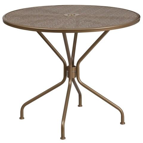 "Porch & Den Stonehurst Manuel Round Steel Patio Table - 32.5"""