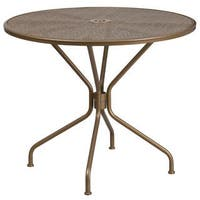 Porch & Den Stonehurst Manuel Round Steel Patio Table - 32.5""
