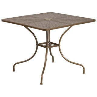 35.5-inch Square Indoor-Outdoor Steel Patio Table