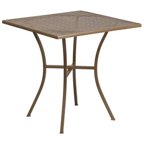 28-inch Square Indoor-Outdoor Steel Patio Table