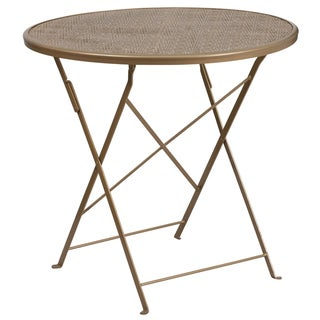 30-inch Round Indoor-Outdoor Steel Folding Patio Table