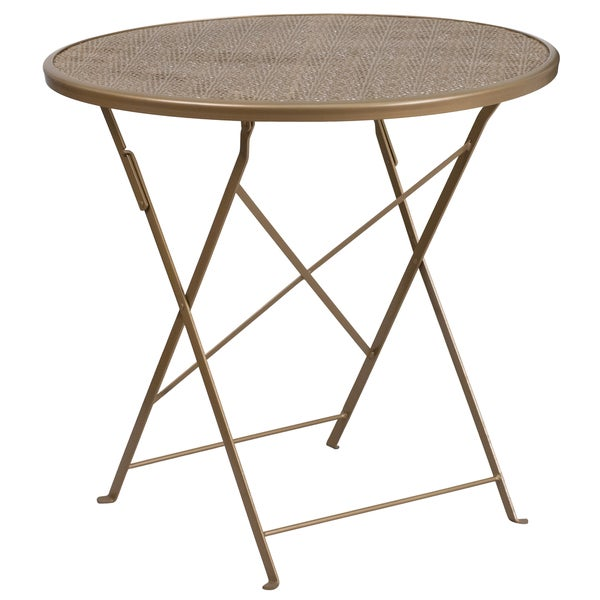 Superior 30 Inch Round Indoor Outdoor Steel Folding Patio Table