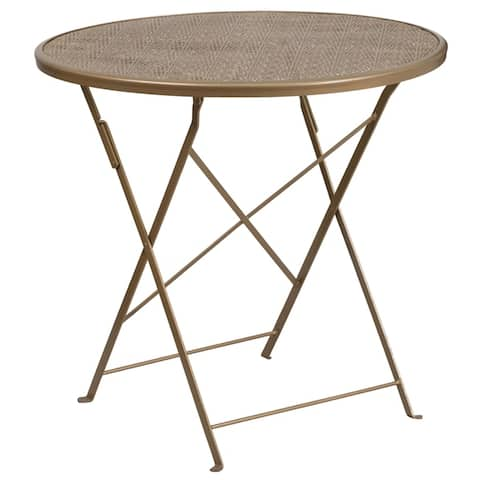"30"" Round Gold Indoor-Outdoor Steel Folding Patio Table - Restaurant Table"