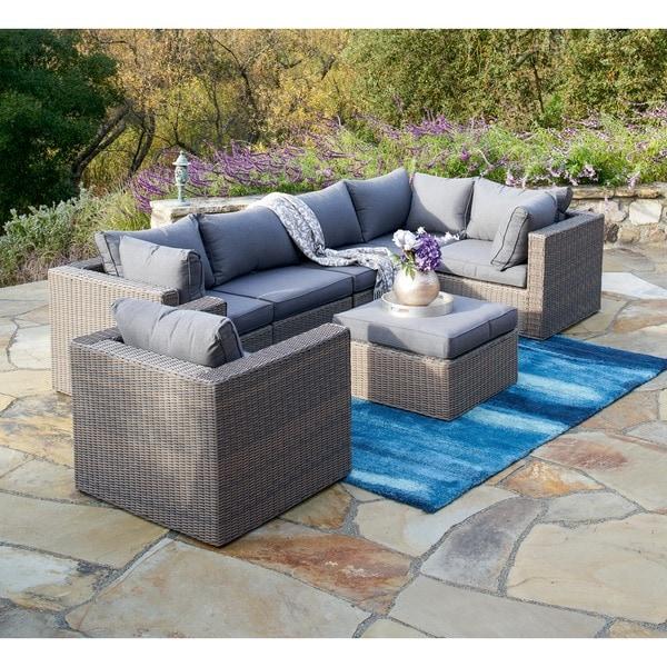 Corvus sevilla 7 piece grey wicker patio furniture set for Outdoor furniture 0 finance