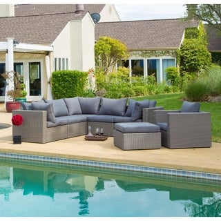 Corvus Sevilla Outdoor 7-piece Grey Wicker Sectional Sofa Set