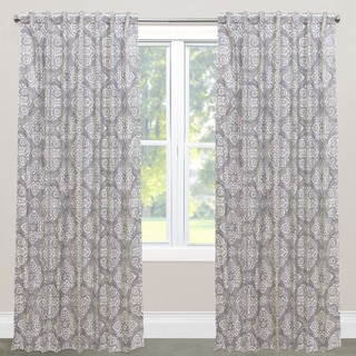 Skyline Furniture Jakarta White/Grey Cotton Blackout Window Curtain Panel
