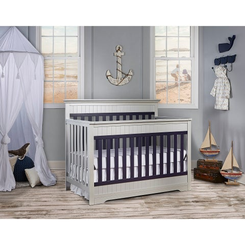 Dream On Me Chesapeake Platinum and Navy 5-in-1 Convertible Crib