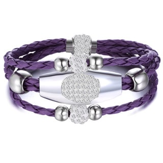 Purple Leather Swarovski Crystal Wrap Bracelet