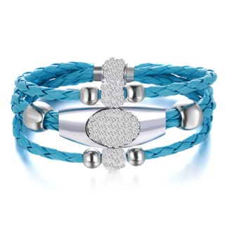 Light Blue Leather 3-row Wrap Bracelet
