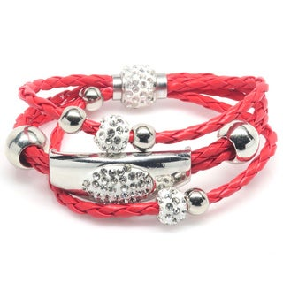 Red Leather/Brass/Crystal 8.5-inch Wrap Three-row Bracelet