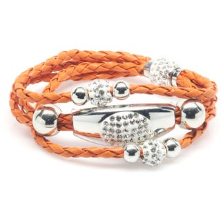 Orange Three-row Leather, White-goldtone Brass, and Swarovski Crystals Wrap Bracelet