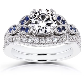 Annello by Kobelli 14k White Gold 1ct Moissanite Blue Sapphire and 1/4ct TDW Diamond Vintage Floral Bridal Set