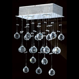 "Crystal Rain Drop Collection 2 Light Chrome Finish Crystal Wall Sconce 12"" W x 17"" H Modern Medium"
