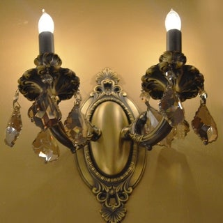 "French Palace Collection 2 Light Antique Bronze Finish & Golden Teak Crystal Candle Wall Sconce Cast Brass 9"" W x 10.5"" H Medium"