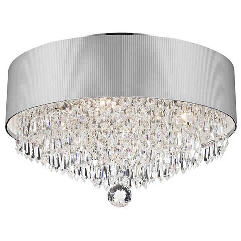 Modern Elegance 4-light Chrome Finish Crystal 16-inch Round Medium Flush Mount with White Acrylic Drum Shade