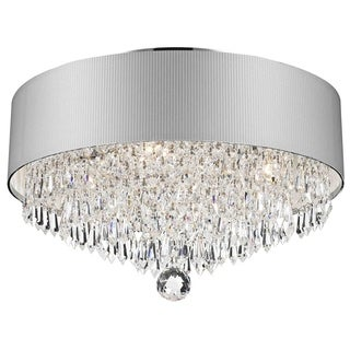 Modern Elegance 4-light Chrome Finish Crystal 16-inch Round Medium Flush Mount with White Acrylic Drum Shade