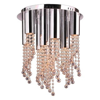 Crystal Rain Collection 10-light Halogen Chrome Finish and Golden Teak Crystal Flush Mount Ceiling Light 15-inch Round Medium
