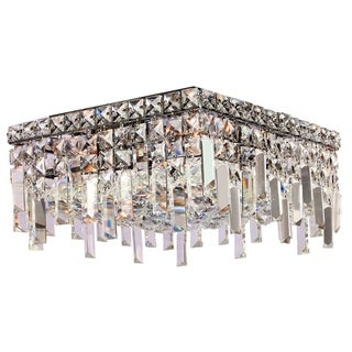 Glam Art Deco Style Collection 4 Light Chrome Finish Crystal Flush Mount Ceiling Light 12-inch Square Small