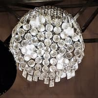 Glam Art Deco Style Collection 4 Light Chrome Finish Crystal Flush Mount Ceiling Light 12-inch Round Small