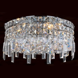 Glam Art Deco Style Collection 4 Light Chrome Finish Crystal Flush Mount Ceiling Light 14-inch Round Medium