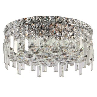 Glam Art Deco Style 9 Light Faceted Crystal 24 Inch Round