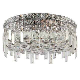 Glam Art Deco Style Collection 5 Light Chrome Finish Crystal Flush Mount Ceiling Light 16-inch Round Medium