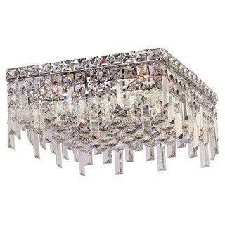 Glam Art Deco Style Collection 5 Light Chrome Finish Crystal Flush Mount Ceiling Light 14-inch Square Medium