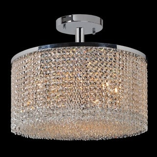 Glitter and Glamour Collection 9 Light Chrome Finish Crystal String Semi Flush Mount Ceiling Light 20-inch Round Large