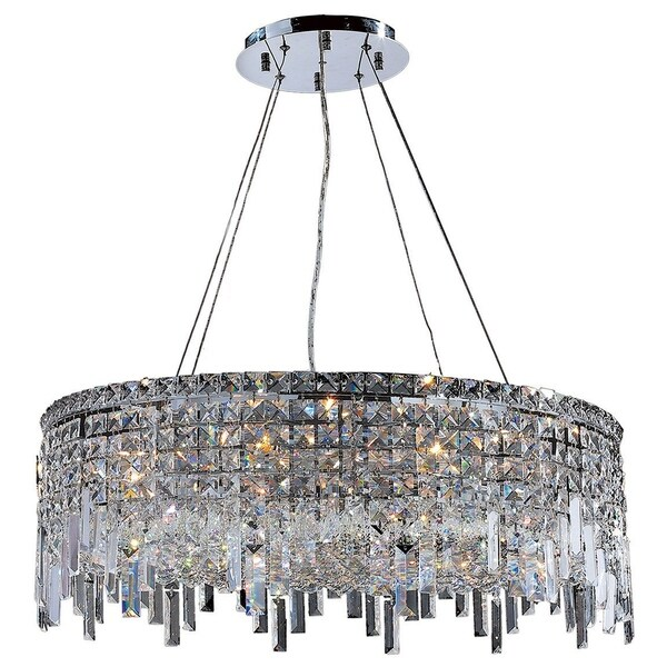 Glam art deco style collection 12 light chrome finish crystal round flush mount chandelier 28 d Home decorators collection 4 light chrome flush mount